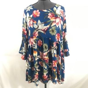 Umgee Bell Sleeve Long Sleeve Floral Dress